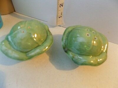Vintage Salt and Pepper Shakers Unmarked Cabbage Set