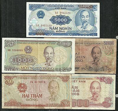 Vietnam $200-$5000 Dong Set Of 5 (F/xf) From 1987-91.(14)