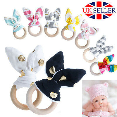 Natural Wooden Baby Teething Ring Cotton Chewie Teeth Bunny Sensory Cute Toy UK*