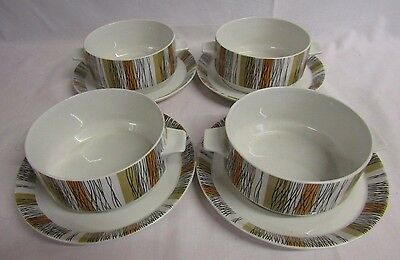 Midwinter Sienna  - 4 X Soup Coupe Bowls & Drip Plates