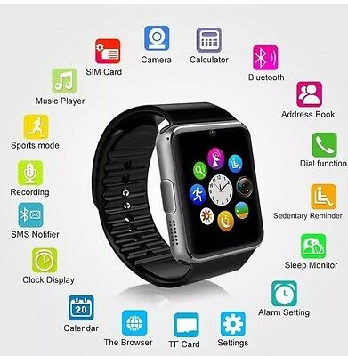 2017 Touch Screen Bluetooth Fitness Smart Watch Phone For Android Apple Silver