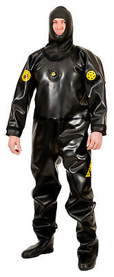 Viking Pro Black Rubber Drysuit With Latex Hood & Valves. Size 03/xl-Extra-Wide