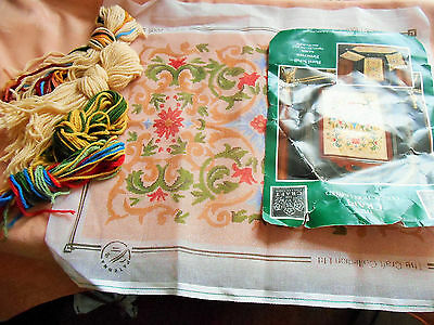 New Tapestry Kit Canvas Yarn Flowers Firescreen Tent Stitch Picture