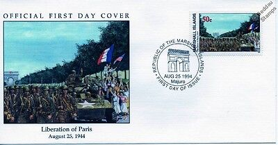 1944 LIBERATION OF PARIS - ALLIES & US M-8 Greyhound Armoured Car WWII Stamp FDC