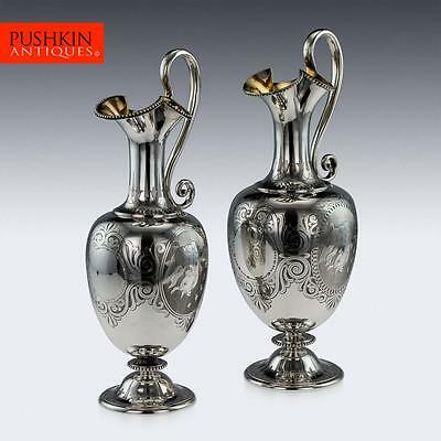 ANTIQUE 19thC VICTORIAN SOLID SILVER PAIR OF WINE JUGS, GEORGE ANGELL c.1859