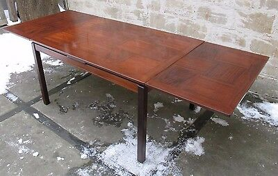 DANISH MODERN ROSEWOOD EXTENSION DINING TABLE by HEGGEN mid century norway