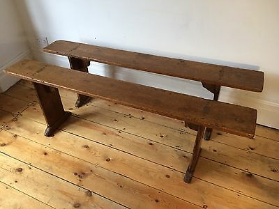Antique Victorian Fruit Wood Benches Worn and Beautiful 2 available