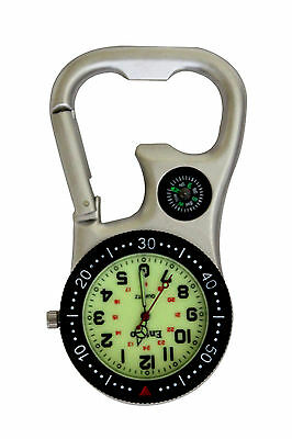 Entino Silver Clip on Carabiner with Luminous Face FOB Watch For Nurses Doctors