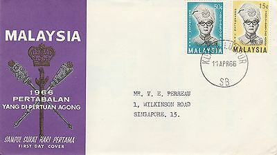 1966 Malaysia Pertabalan Stamps SG33-34 First Day Cover CDS PMK Ref: MT325
