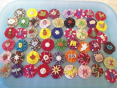 50 Assorted Hand Sewn Fabric Embellishments For Bow And Accessory Making