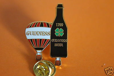GUINNESS LUCKY SHAMROCK TWIN  HOT AIR BALLOONS TIE OR LAPEL PIN BADGE.unused