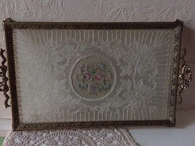 Antique Lace under Glass Vanity Tray
