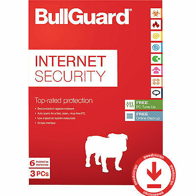 BullGuard Internet Security Latest 3 PCs +5GB 6 Months License Key New or Extend
