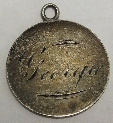 """1853 Seated Liberty Dime Love Token Engraved """"Georgie"""" Silver Pendant Charm"""