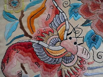 Antique Chinese Silk mounted HAND Embroidery FLOWERS CREATURES