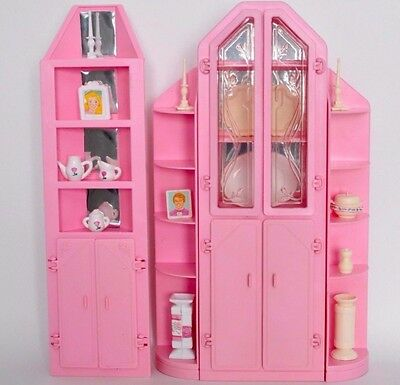 Vintage Barbie Sweet Roses Living Pretty wall unit curio cabinet + bookcase +acc