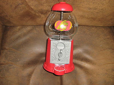 """Jelly Belly Gumball Machine Dispenser Coin Bank 9"""" Tall Red"""