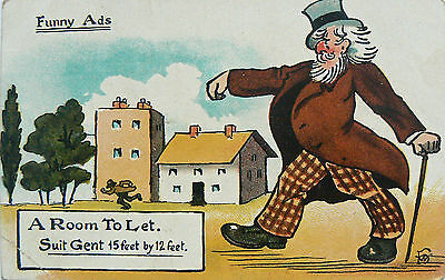 Postcard.comic.funny Ads.a Room To Let.poss By Fred Spurgin.pmkd Victoria 1909