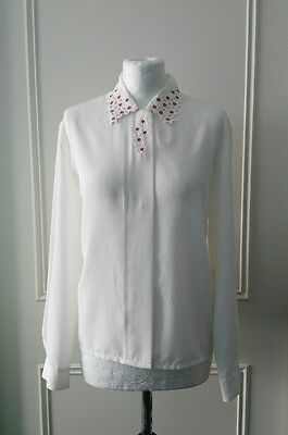 Eastex 1980's vintage white blouse with floral detail size 12