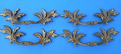 VINTAGE FRENCH PROVENCIAL Brass Furniture Pulls K-7457 Italian Brass Set of  4