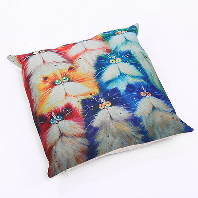 Cartoon Cat Throw Pillow Bright Colorful #2 ANIMAL RESCUE DONATION