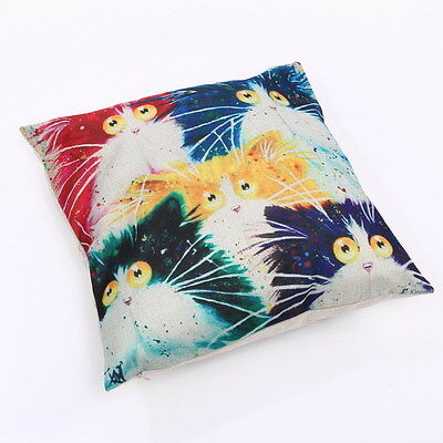 Cartoon Cat Throw Pillow Bright Colorful #4 ANIMAL RESCUE DONATION