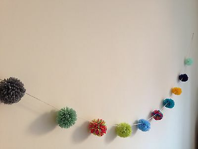 Various Coloured Handmade Pom Poms Decoration 10 Bauble Bunting Garland