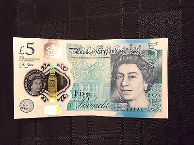 New Rare Polymer Bank of England Five Pound Note £5 AA