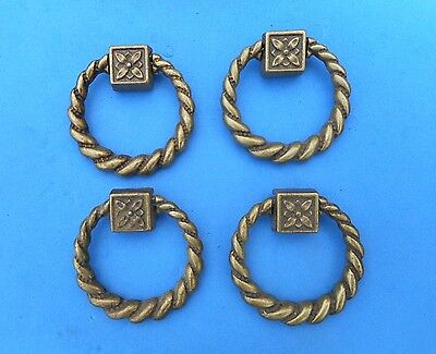Set of 4 CLASSIC QUALITY BRASS ANTIQUE STYLE FURNITURE DRAWER RING PULL HANDLE