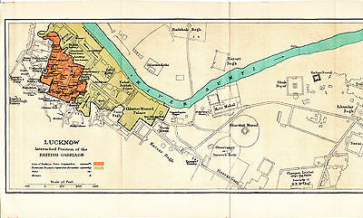 India Lucknow लखनऊ 1938 orig. city maps & guide entrenched British Garrison 1857