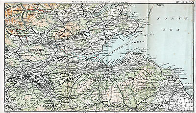 Scotland Stirling 1889 small orig. map + special note 1890: The Forth Bridge