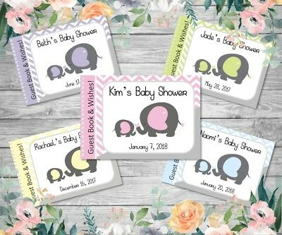 PERSONALISED BABY SHOWER GUEST BOOK - Mummy & Baby Elephant - assorted colours