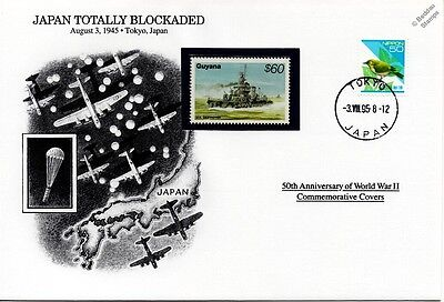 WWII 1945 Japan Totally Blockaded / US Destroyer Stamp Cover (Danbury Mint)