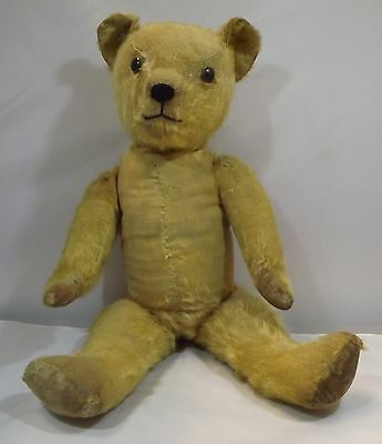 """VINTAGE 1940s 21"""" ENGLISH JOINTED MOHAIR TEDDY BEAR"""
