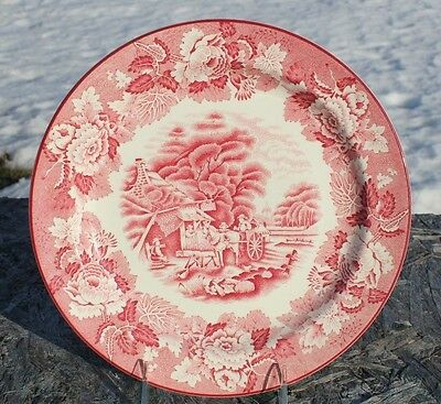 "Enoch Woods English Scenery Pink Dinner Plate 10"" Wood & Sons"