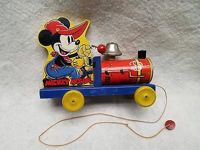 1930's Mickey Mouse Choo Choo No. 432 Fisher Price Toys Walt Disney Pull Toy