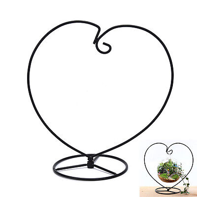 Black Heart-shaped Iron Hanging Plant Glass Vase Terrarium Stand Holder GVUS