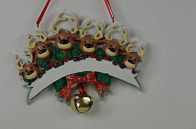 Reindeer Family of 6 with Jingle Bell ChristmasTree Ornament new deer forest