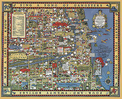1931 Gangster Map Chicago Gangland from Authentic Sources History Poster Print