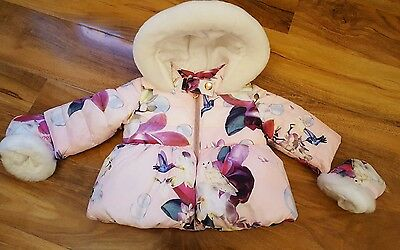 Baby Girls Ted Baker coat, bird & fuschia, size 0-3mths, BNWT, Gorgeous ♡
