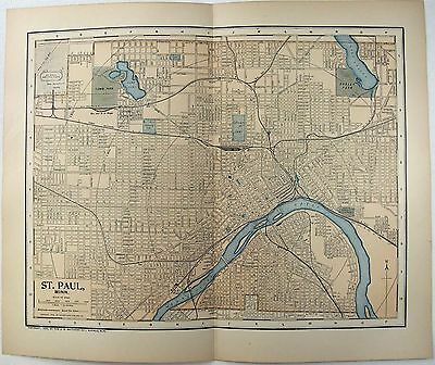 Original 1903 Street & Railroad Map of St. Paul MN by Dodd Mead & Company