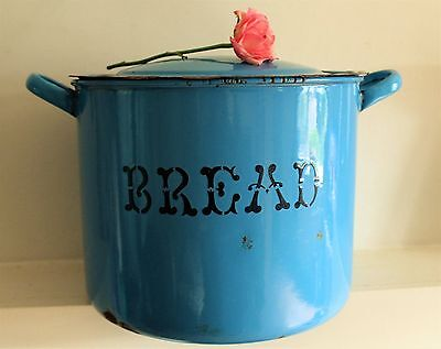 Rare Vintage English Blue Enamel Bread Bin