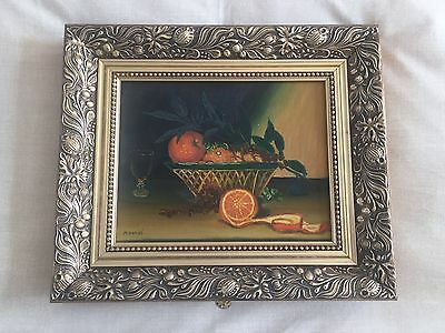 Framed H Daniel fruit still life oil painting
