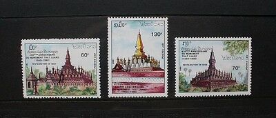LAOS 1990 That Luang Temple Restoration. Set of 3 Mint Never Hinged. SG1203/1205