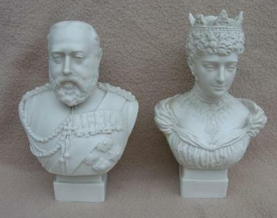 Royalty Antique Parian Busts Edward Vii Queen Alexandra Robinson Leadbeater 1901