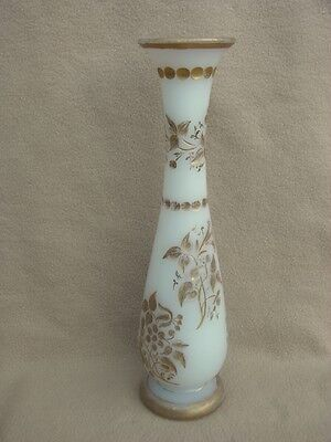 Antique Continental Bohemian French Baccarat Opaline Cut Glass Vase Victorian