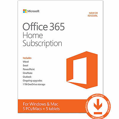 MS Office 365 Home 6 MONTHS License Key for 5 PC / MAC & 5 Tablets New or Extend