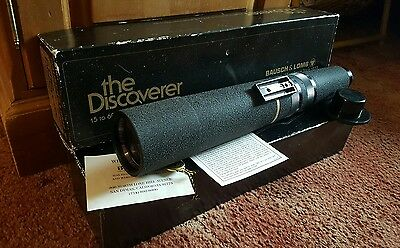 Bausch & Lomb Discoverer Telescope Lens 15 - 60mm Zoom with box and stand.