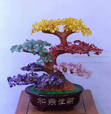 AAA+ Lucky Tree!!! Natural Pretty Multi-color  Quartz Crystal Gem Tree