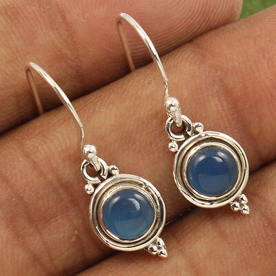 925 Sterling Silver Jewelry Earrings Natural BLUE CHALCEDONY Gemstones Wholesale